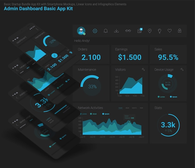 Responsieve mobiele app voor beheer en administratie dashbord ui