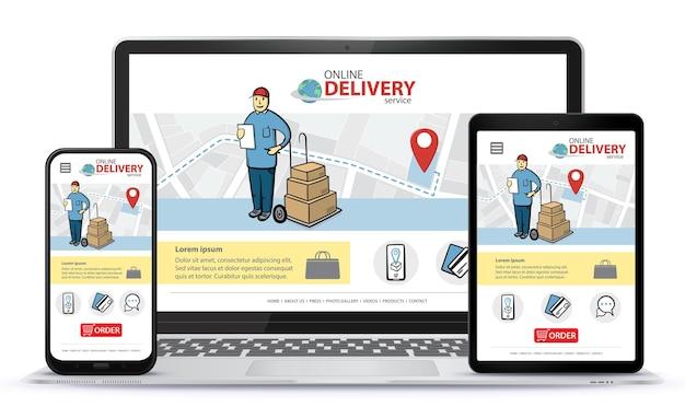 Responsieve ontwerpsjabloon voor app voor online winkelen en mobiele website