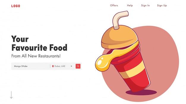 Responsieve websjabloon of bestemmingspagina met mango shake illustratie.