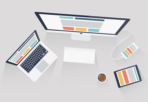 Responsive web design en web development vector illustration
