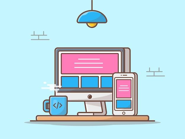 Responsive website vector icon illustratie