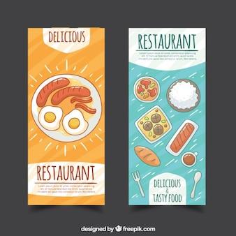 Restaurant banners met de hand getekende voedsel