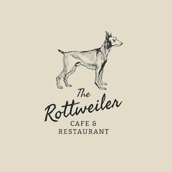 Restaurant bedrijfslogo sjabloon in vintage rottweiler thema