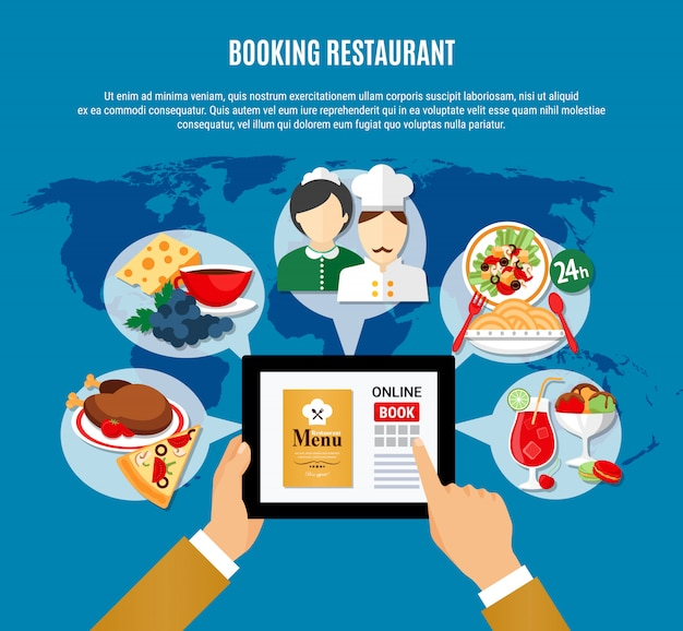 Restaurant boeking illustratie