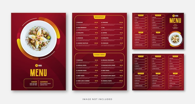 Restaurant café eten menu, driebladige brochure sjabloon