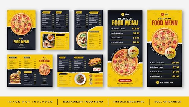 Restaurant café eten menu, driebladige brochure sjabloon,