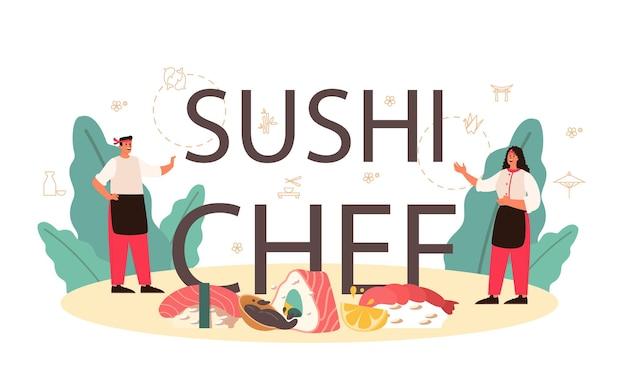 Restaurant chef-kok broodjes en sushi koken