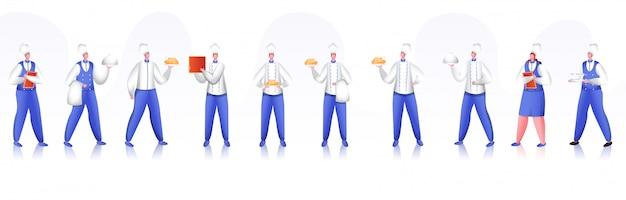 Restaurant chef-kok en personeel tekenset.
