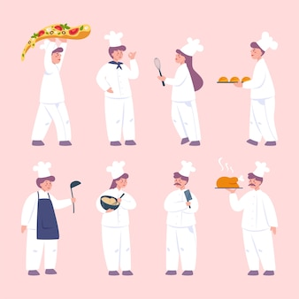 Restaurant chef-kok kookset. verzameling van mensen in schort met lekker gerecht of kookgereedschap. professionele werker in de keuken.