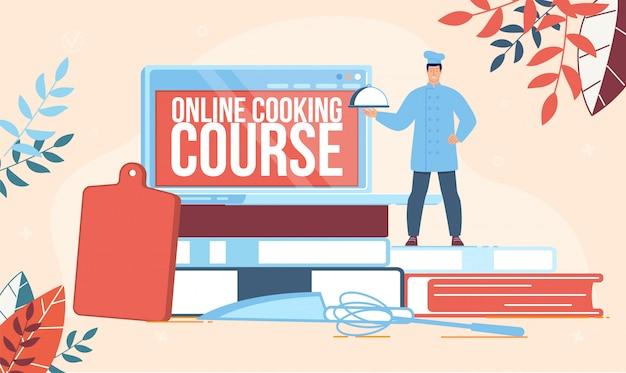 Restaurant chef school flat banner