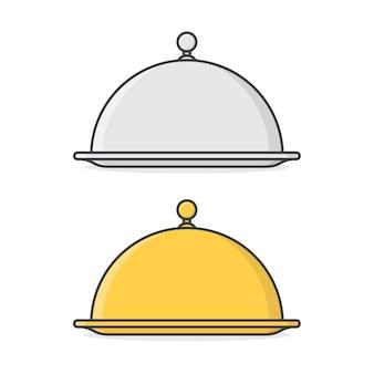 Restaurant cloche. gouden en zilveren platte glazen kap