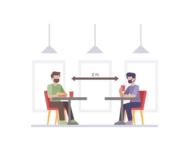 Restaurant dat protocollen voor veiligheid en gezondheid toepast door sociaal afstand te nemen tussen de illustratie van de tafelstoel van de klant