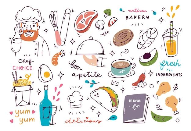 Restaurant doodle met verschillende soorten eten en drinken