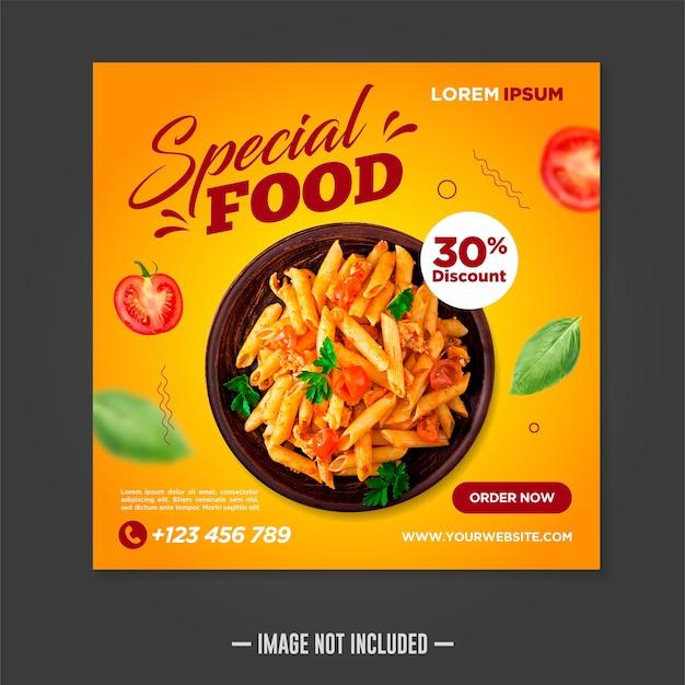 Restaurant eten sociale media banner post ontwerpsjabloon