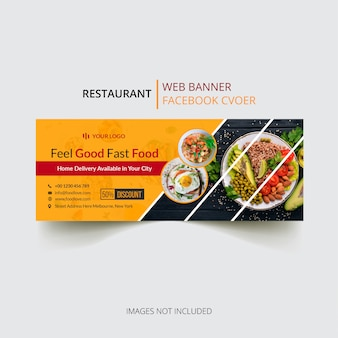 Restaurant facebook cover template vector