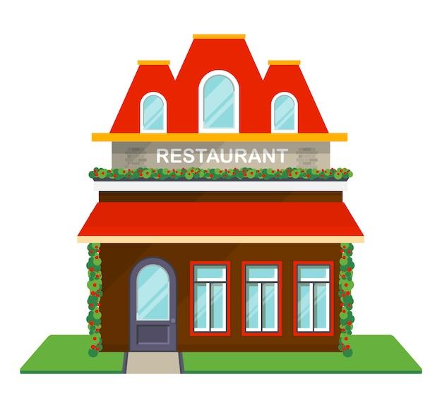 Restaurant gevel geïsoleerde pictogram