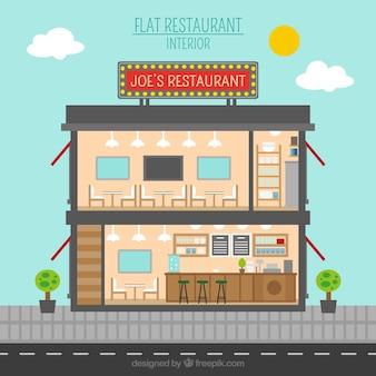 Restaurant interieur in vlakke stijl