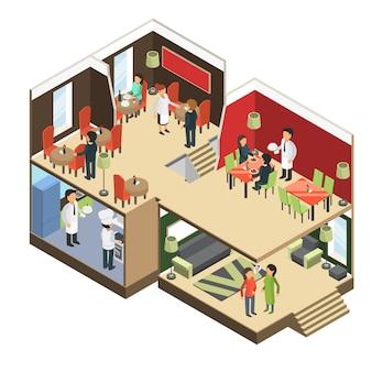 Restaurant interieur. isometrische bar café buffet gebouw met etende gasten 3d-foto's
