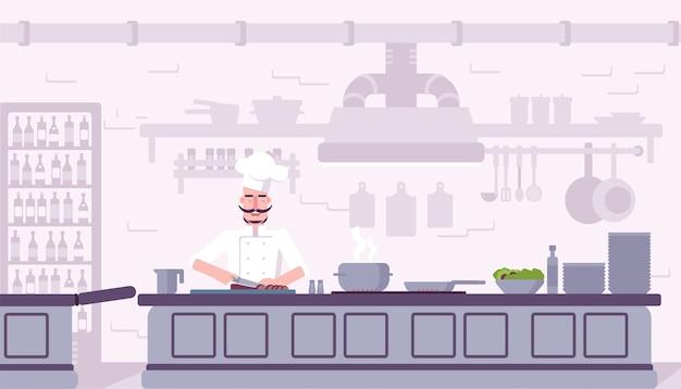 Restaurant keuken interieur illustratie, chef-kok koken heerlijk eten stripfiguur.