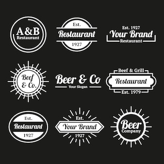 Restaurant koffie retro logo collectie