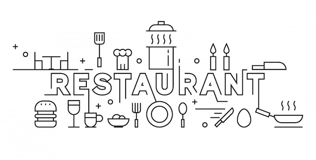 Restaurant line art design