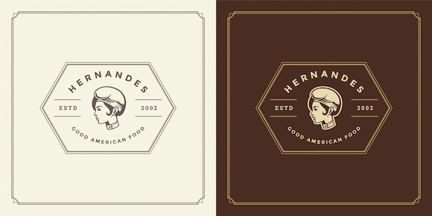 Restaurant logo chef-kok vrouw gezicht in hoed silhouet goed voor restaurantmenu
