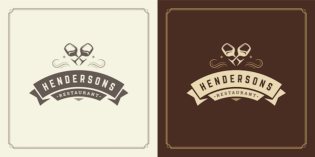 Restaurant logo illustratie wijn glaswerk silhouetten, goed voor restaurantmenu en café-badge.
