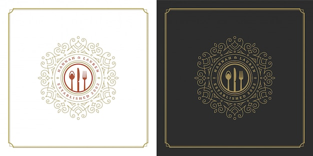 Restaurant logo keukengereedschap goed voor restaurantmenu