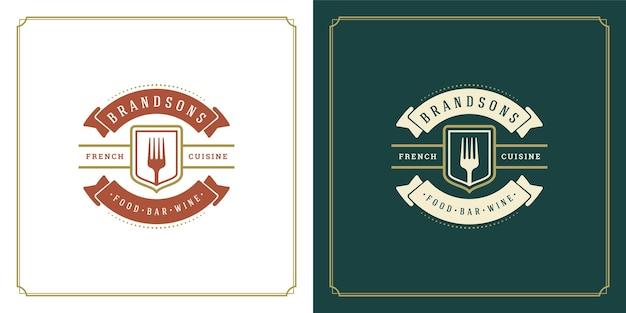 Restaurant logo ontwerp illustratie vork silhouet