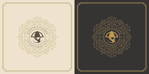 Restaurant logo ontwerp vector illustratie hand met dienblad silhouet