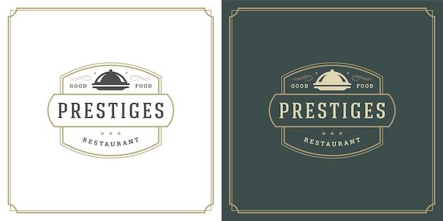 Restaurant logo ontwerp vector illustratie schotel dienblad silhouet