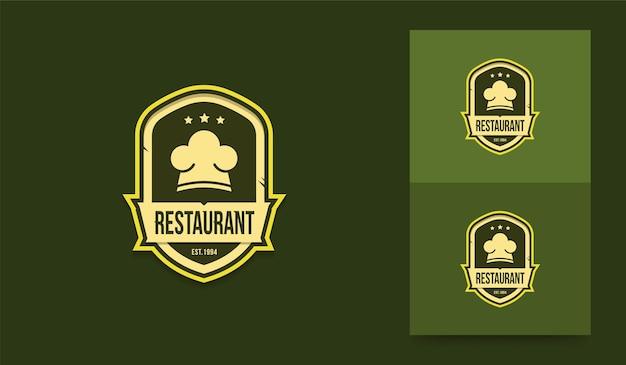 Restaurant logo sjabloon chef-kok logo in vintage stijl