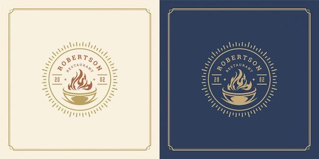 Restaurant logo sjabloon illustratie barbecue grill met vlam symbool en decoratie goed voor menu en café teken