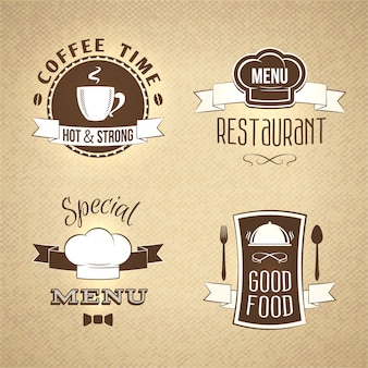 Restaurant menu emblemen set textuur