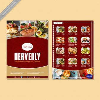Restaurant menu flyer ontwerp