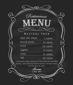 Restaurant menu frame schoolbord hand getekend vintage label vector