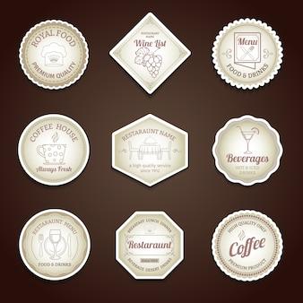 Restaurant menu labels ingesteld met koken en diner symbolen geïsoleerde vector illustratie