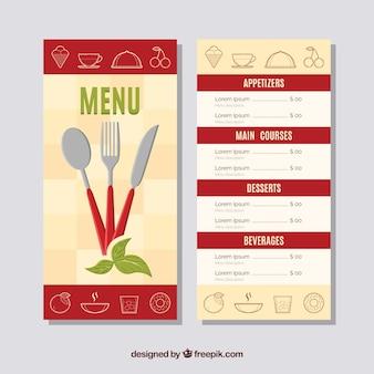 Restaurant menu met bestek