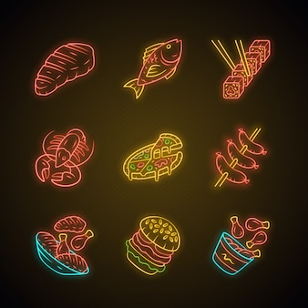 Restaurant menu neonlicht pictogrammen instellen