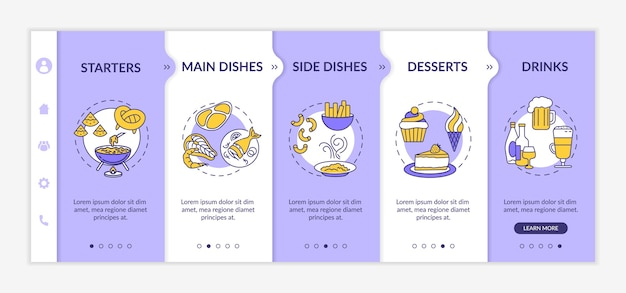 Restaurant menu onboarding sjabloon