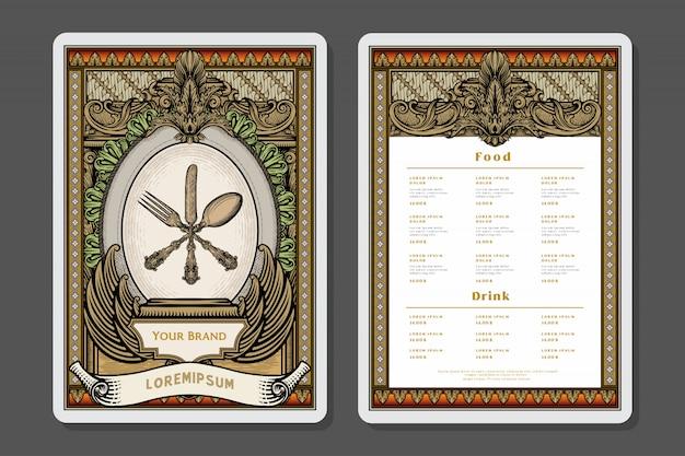 Restaurant menu ontwerp en label brochure sjabloon. de illustratie van de chef-kokhoed en ornamentdecoratie.