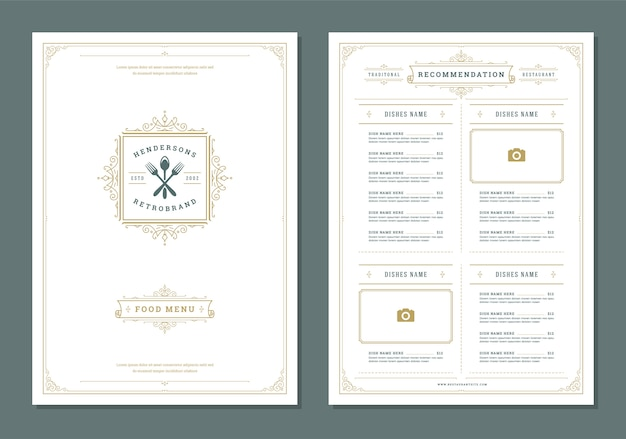 Restaurant menu ontwerp en label vector brochure sjabloon.