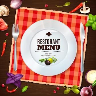 Restaurant menu realistic samenstelling achtergrondgeluid poster