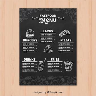 Restaurant menu sjabloon in de hand getrokken stijl