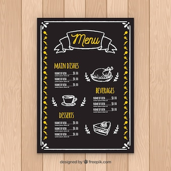 Restaurant menusjabloon in blackboard stijl