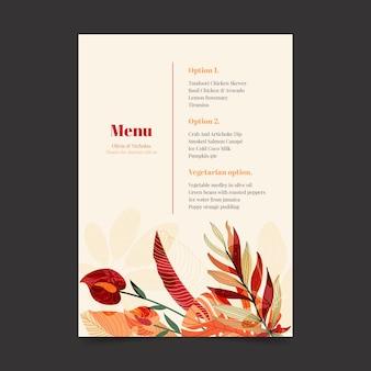 Restaurant menusjabloon met florale versieringen