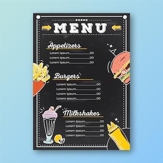 Restaurant menusjabloon met tekeningen