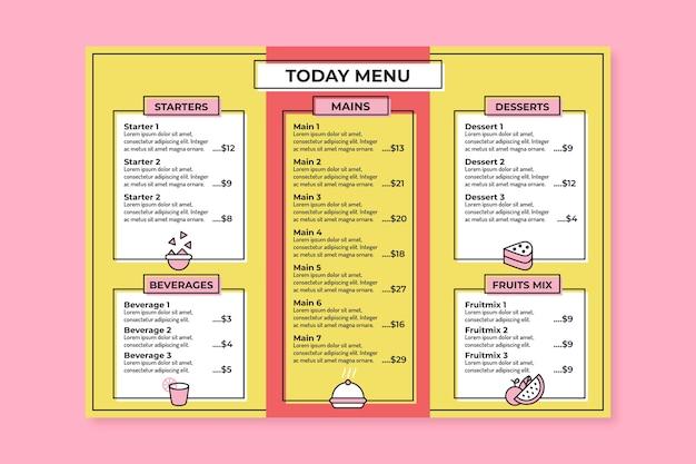 Restaurant menusjabloon thema