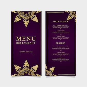 Restaurant menusjabloon violet met gouden