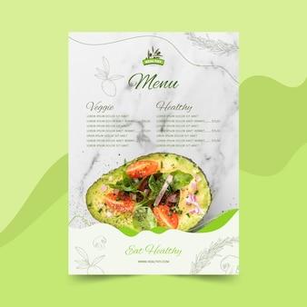 Restaurant menusjabloon voor gezonde voeding